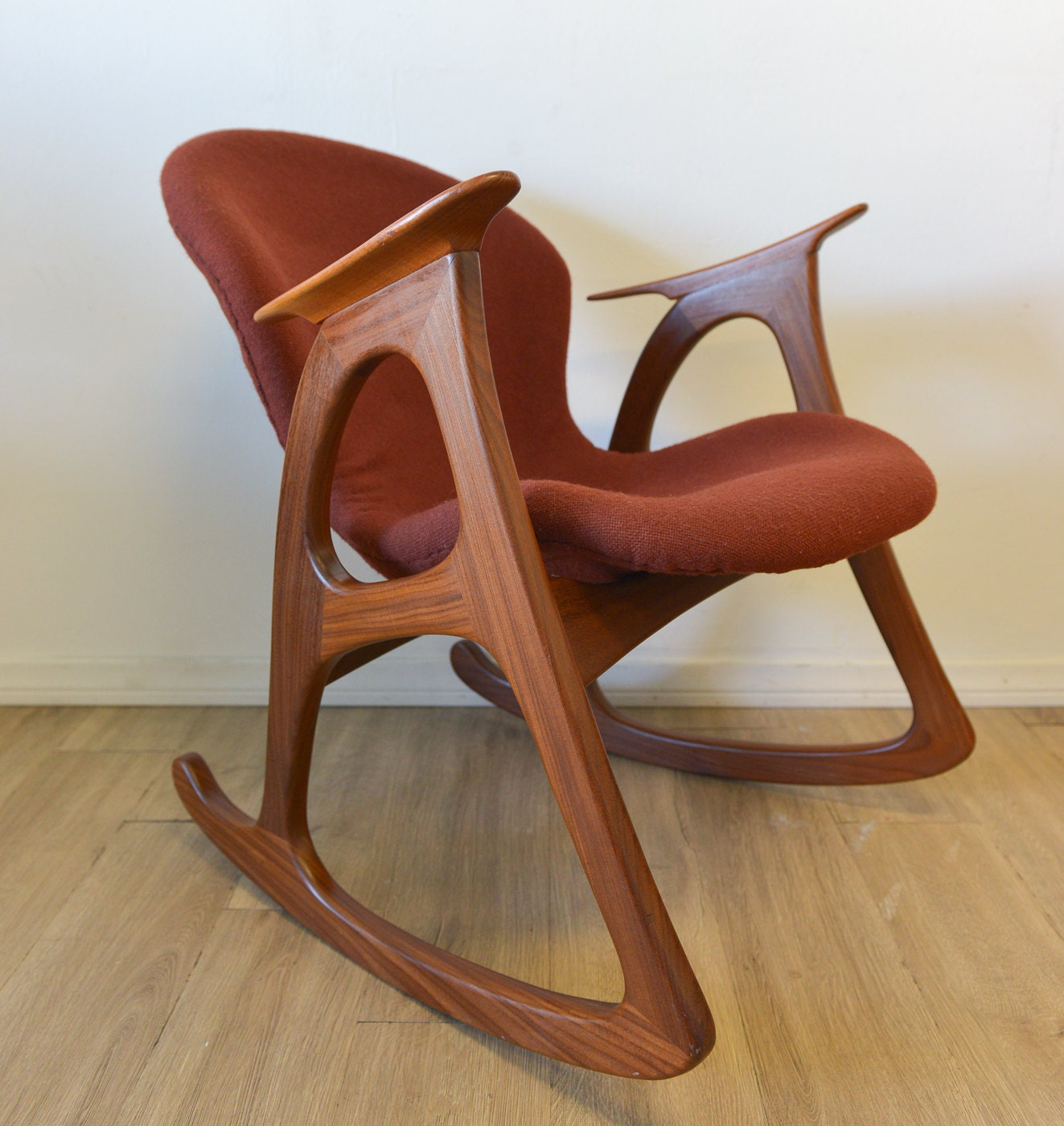SALE Danish Modern Teak Rocking Chair by by TheModernVault on Etsy