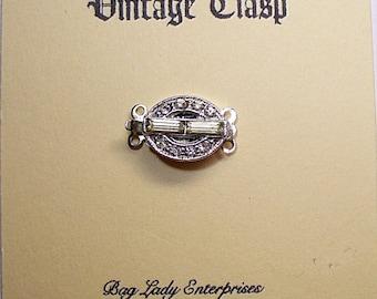 Rhinestone Box Clasp 2or3 Strand 12x9 Oval Vintage