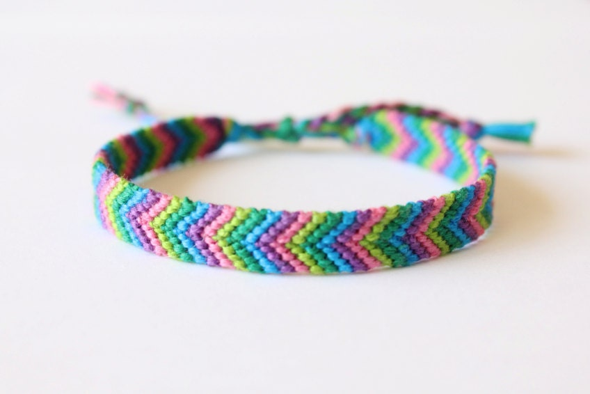 colorful friendship bracelet knotted chevron by theclassycats