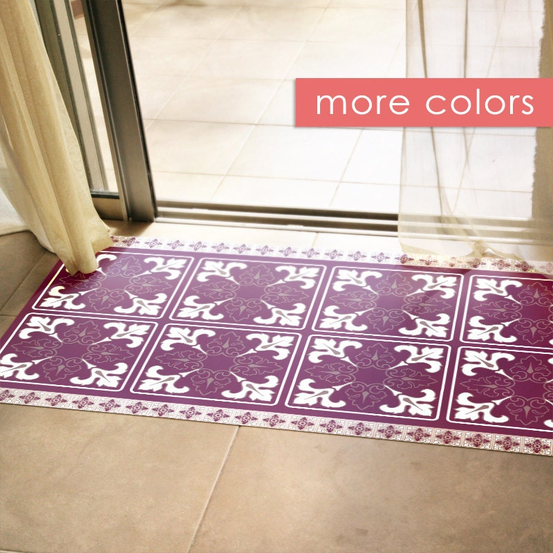 Linoleum Rug Turquoise Terracotta Area Rug Or Kitchen Mat: Unique Printed Doormat Or Area Rug With Purple Tile Pattern