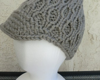 Hand knitted hat with visor - different colors available