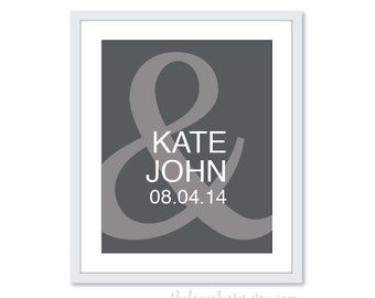 Custom Gift for Newlyweds - Wedding Personalized Couples Print - Ampersand Love Poster- Wall Art
