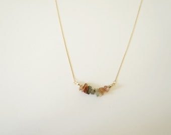 Gold Necklace in Gold Plated with Neutral Gemstone
