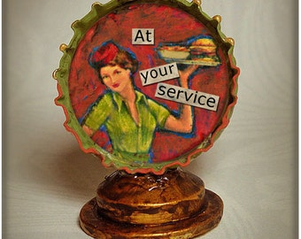 Bottle cap shrine // bottle cap assemblage collage // At Your Service bottlecap shrine // found object shrine folk art bottle cap