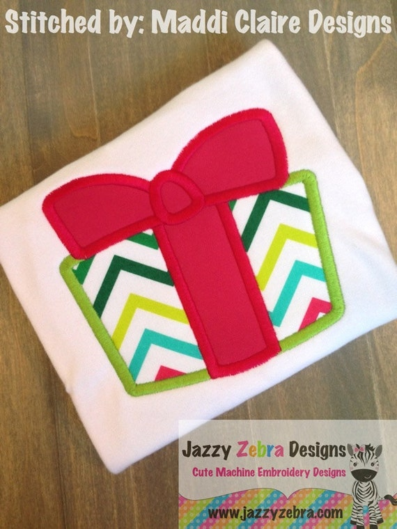 Gift Applique embroidery Design - Present Applique embroidery Design - Christmas applique design - Birthday appliqué design - gift appliqué