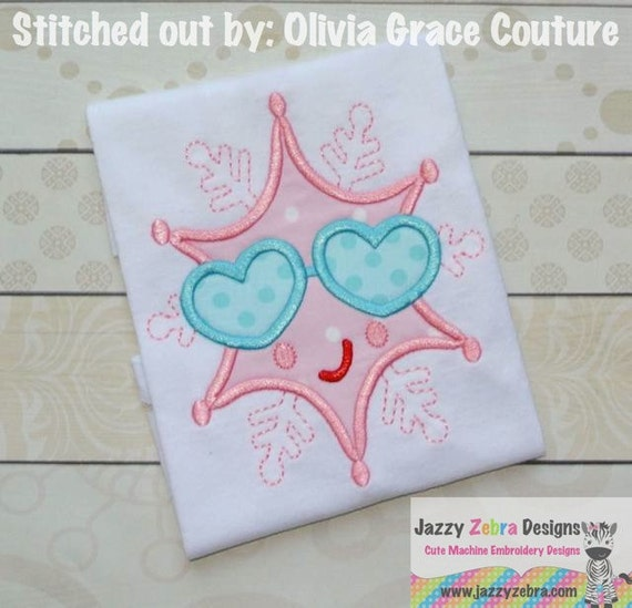 Girl Snowflake with Sunglasses Appliqué embroidery Design - snowflake Appliqué Design - girl appliqué design - snow Appliqué Design - winter
