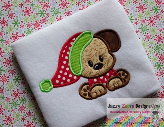 Puppy wearing sweater and santa hat appliqué embroidery design - Christmas appliqué design - Dog appliqué design - puppy appliqué design