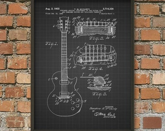 Guitar Patent Print - Electric Guitar Patent Wall Art Poster - Music Room Patent Prints Home Decor - Musician Gift Idea