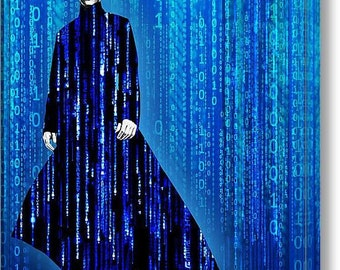 Matrix Neo Keanu Reeves on Stretched Canvas