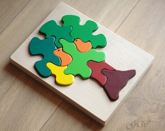 Wooden Puzzle Birds in a Tree. Wooden Toys. Wooden Puzzle