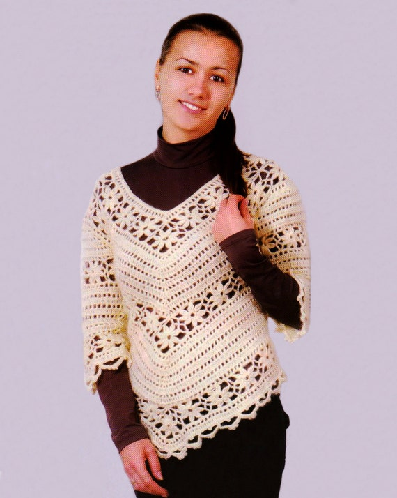 Crochet Granny Square Tunic Pattern : Warm crochet tunic PATTERN granny squares by FavoritePATTERNs
