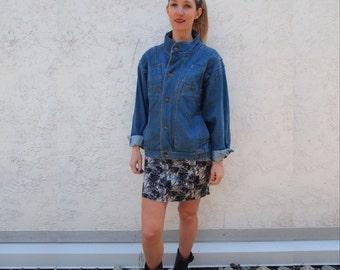 Vintage Denim Oversized Jacket Blue Denim