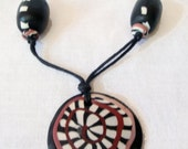 Tribal, African, Ethnic, Boho Long Polymer clay necklace in Black, Rust and White.Longest length  58cm
