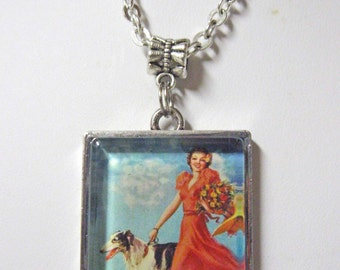 Borzoi pendant with chain - DAP05-068