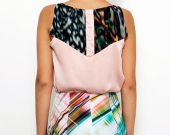 SALE! Pink Summer Blouse , Silky Blouse , Romantic Pink Top , Blouse Button Back , Party Top , Elegant Top , Pale Pink Blouse