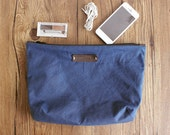 Blue 8 ounces Waxed Canvas Accessory Bag, Hand Waxed,Accessory Pouch,clutch pouch,storage bag Organizing Case, Costmetic Bag