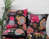 5pc Black Kantha Pillow Cover, Kantha throw Pillow cushion Cover, Kantha Thread Floral Cotton Cushion Pillow Covers Ethnic Decorative Art
