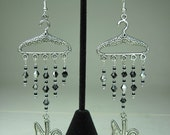 "Pro Choice ""No Coat Hangers"" Abortion Women's Repro Rights Feminist Black and Silver Glass Beaded Silver Metal Earrings"