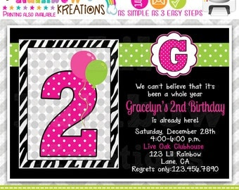 671: DIY - Cute Zebra Print and Polka Doyts Party Invitation Or Thank You Card