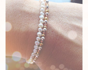Bracelet with freshwater pearls and natural closures 925