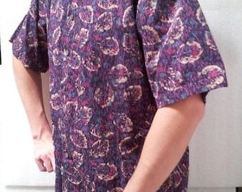 80s Nordstrom collared short sleeve shirt / Floral / purple / pattern / mens / Medium / M