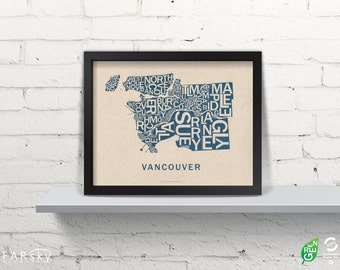 Far Sky Vancouver Typographic Map