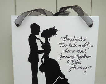 Handmade 'Soulmates silhouettes' wooden plaque