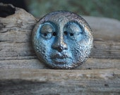 Handmade Porcelain Raku Moon Face Focal Button