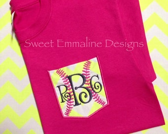 Youth/Girl's Softball Embroidered Pocket Monogram Tee – Short Sleeve T-shirt