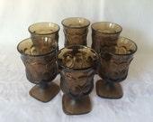 Brown Wine Glasses, Noritake Spotlight, Smoke Glassware, Mid Century, Gothic Goblets, Stemmed Glassware, Vintage Wine Glass, Juice Glasses