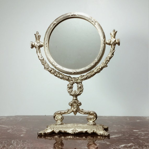 Vintage Silver Vanity Mirror With Stand And Reversible
