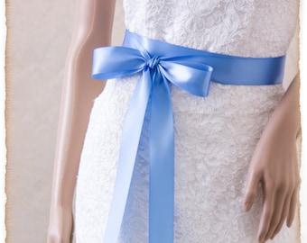 Wedding Sash, FRENCH BLUE Bridal Sash, Satin Ribbon Sash, Satin Bridal Sash, Bridesmaids Sash
