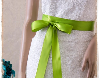 LIME Bridal Sash, Satin Ribbon Sash, Wedding Sash, Satin Ribbon Sash, Bridal Belt, Lime Satin Bridesmaids Sash