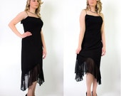 Moving SALE! Vintage Black Spaghetti Strap Cocktail Dress, Evening Dress, Little Black Dress, Size Large, Sheer Hem