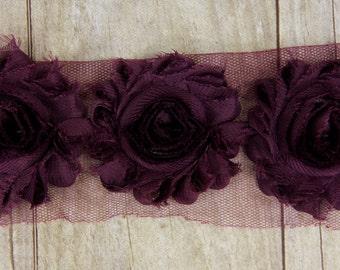 DEEP PURPLE Shabby Chiffon Flower - shabby chiffon flower trim, shabby chiffon rose trim, shabby rosette trim diy headband