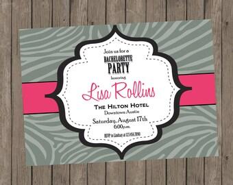 Printable Bachelorette Invitation - Lisa Zebra