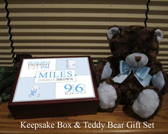 Birth announcement personalized keepsake box with matching teddy bear new baby boy gift custom gift set