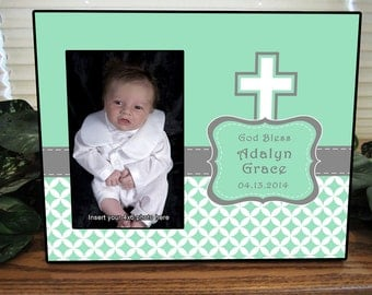 Personalized Picture Frame, Girls Baptism Gift, Girls Baptism Picture Frame