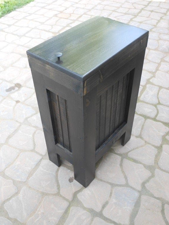 Wood Wooden Kitchen Garbage Can Trash Bin Ebony Black