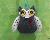 Mr. Owl. Valentine Eco felt owl; Wall / Door Hanging, ornament, baby shower, Valentine day gift; hand stitched