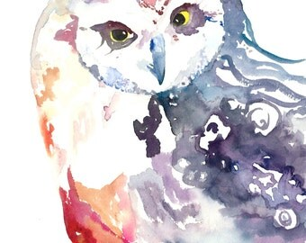 Owl Art - Watercolor Owl Print, Rainbow Owl, Owl Watercolor, Whimsical Owl, Bohemian Owl, Owl Decor, Owl Print, Owl Painting, Abstract Owl