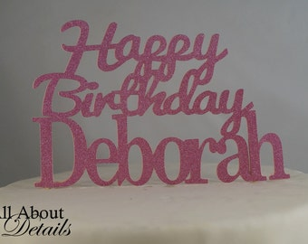 All About Details Custom Happy-Birthday-Name Cake Topper, 1pc