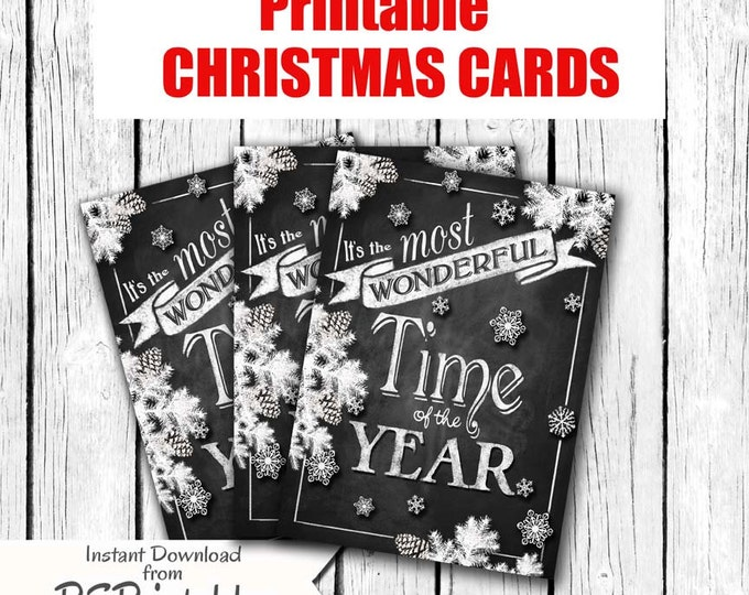 DIY Chalkboard Style Christmas Cards - instant download - Printable - Most Wonderful time of the Year