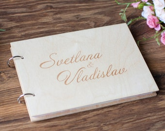 Wood Wedding Guest book, Rustic Wedding Guestbook, Guest Book Personalized, Customized, Flowers