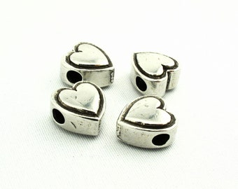 Pewter Metal Heart Beads SKU#BHE0002 Quantity: 25