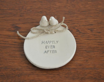 Little Love Birds Wedding Ring Dish - ring holder wedding bowl wedding ring pillow wedding favor bridesmaid jewelry holder jewelry dish