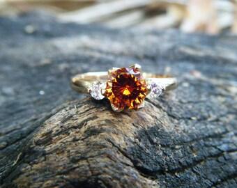 GARNET and DIAMOND ring, unique engagement ring, mandarin garnet, orange hessonite garnet, spessartine spessartite garnet, garnet gold ring
