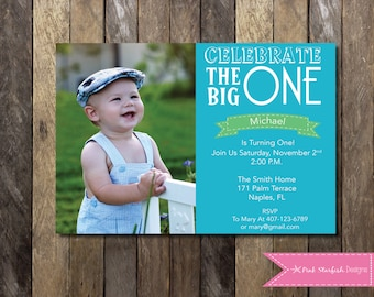 PRINTABLE  First Birthday Invitation with Picture - 1st Birthday Invitation Blue Fully Customizable -  Girls Boys Birthday Party 4x6 or 5x7