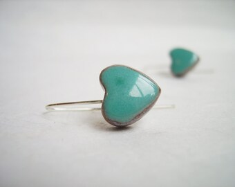Blue turquoise heart earrings, ceramic earrings made in France, sterling silver wire, valentines day gifts