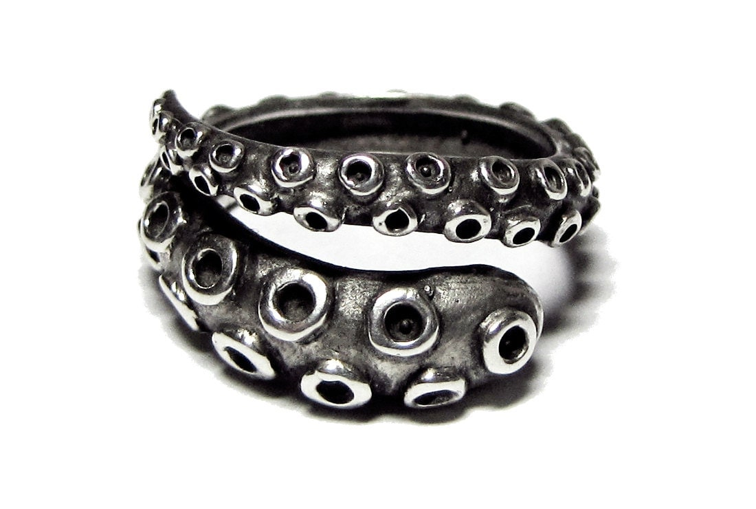 octopus ring antique sterling by silverphantomjewelry
